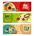 pet care 3 horizontal banners set vector image vector image