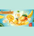realistic mango banana slice juice splash vector image