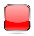 Red square button with metal frame vector image vector image