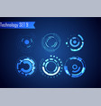 set circle abstract digital technology ui vector image