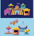 set circus tents with garlands isolated icon vector image vector image