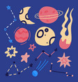 set hand drawn flat cartoon space element vector image