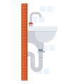 sink in bathroom with faucet and pipe place vector image
