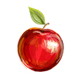 sketch of red apple in watercolor technique vector image