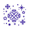 snowflakes and stars linear icon in blue color vector image