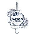 tattoo art design of floal flower with sword vector image vector image