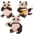 three cute pandas playing musical instruments vector image vector image