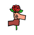 two hands holding red rose mascot vector image vector image