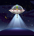 ufo poster flying saucer alien sartoon style vector image