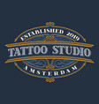 vintage lettering for tattoo studio vector image vector image