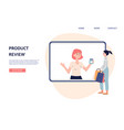 website page with blogger making online product vector image vector image