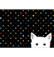 White Cat Colorful Dots Star Background vector image vector image
