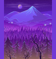 wild northern land night landscape cartoon vector image