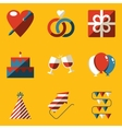 Flat icon set Holiday Love vector image