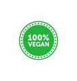 100 percent vegan green circle badge design vector image vector image