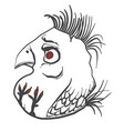 angry simple bird gray and white line drawing vector image