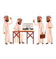 arab man office worker thawb thobe vector image