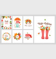 autumn greeting cards banners design set vector image
