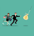 businessman and woman try to pick money bag from vector image vector image