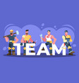 colorful of a team of workers vector image vector image
