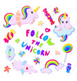 colorful rainbow unicorns and sweets vector image vector image