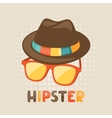 Design with hat and glasses in hipster style vector image vector image