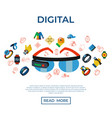 digital wearable technology icons set vector image vector image