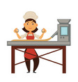 female cook and big factory machine for dough vector image