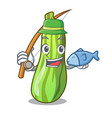 fishing fresh green zucchini in cartoon box vector image