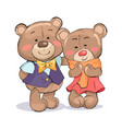 happy couple of teddy family boyfriend and girl vector image vector image