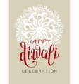 Happy Diwali greeting card with hand written vector image