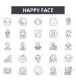 happy face line icons signs set outline vector image vector image