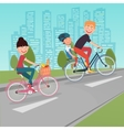 Happy Family Riding Bikes in the City vector image vector image