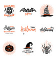 happy halloween overlays lettering labels design vector image