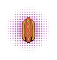 Hotdog icon in comics style vector image vector image