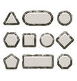 indie game grey rock button set vector image vector image