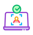 laptop person identity icon outline vector image