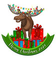merry christmas 2020 font banner with cute vector image
