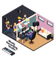 music recording studio isometric composition vector image vector image