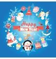 New year greeting card with snowman vector image vector image