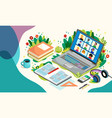online education with laptop and pupils distance vector image vector image