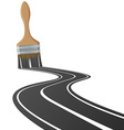 paint brush draws the road vector image vector image