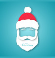 paper cut santa claus isolated on blue background vector image vector image