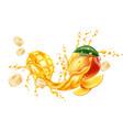 realistic mango banana slice juice splash vector image vector image