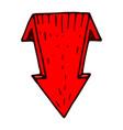 red down arrow hand drawn sketch vector image vector image