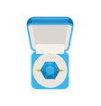 ring with sapphire in box top view jewel isolated vector image vector image