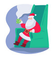 santa claus drinking hot tea beverages vector image