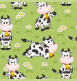 seamless pattern with funny cow vector image vector image