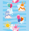seamless pattern with with funny rabbits painted vector image vector image