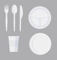 set cartoon plastic tableware in minimalist vector image vector image